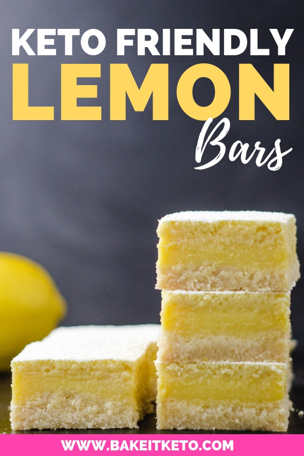 Stack of the best easy tangle keto lemon bars that are low carb, sugar free, and made with coconut flour
