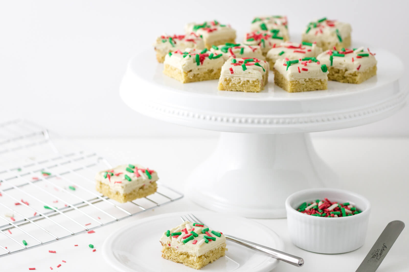 White Chocolate Peppermint Keto Sugar Cookie Bars