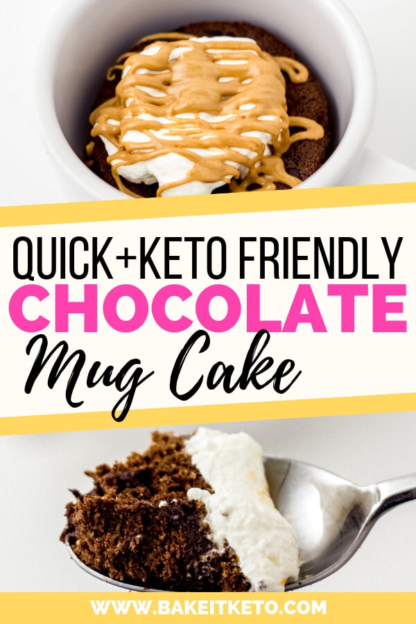 Quick and easy keto friendly low carb chocolate mug cake recipe pin image