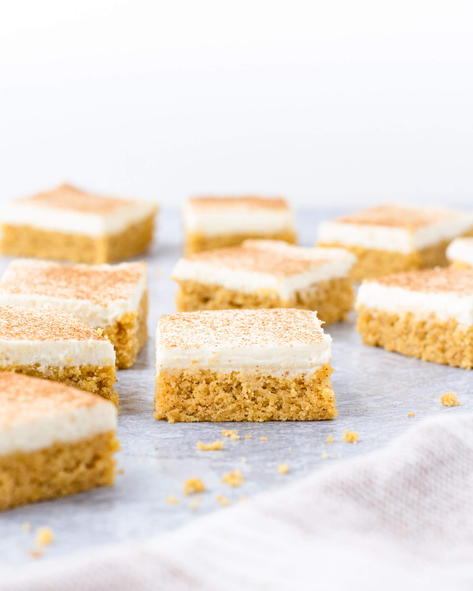 Low carb pumpkin spice bars with sugar free maple cream cheese frosting (keto fall treats)