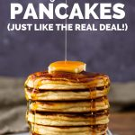 Stack of low carb coconut flour pancakes pin image