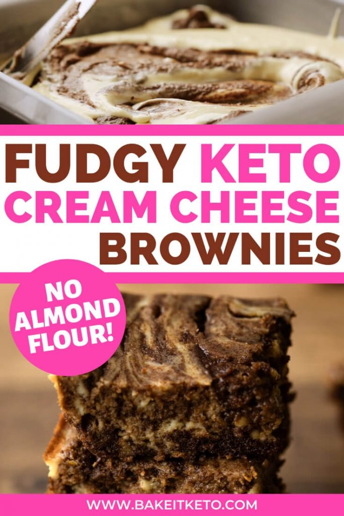 Fudgy keto cream cheese brownies with coconut flour pin image