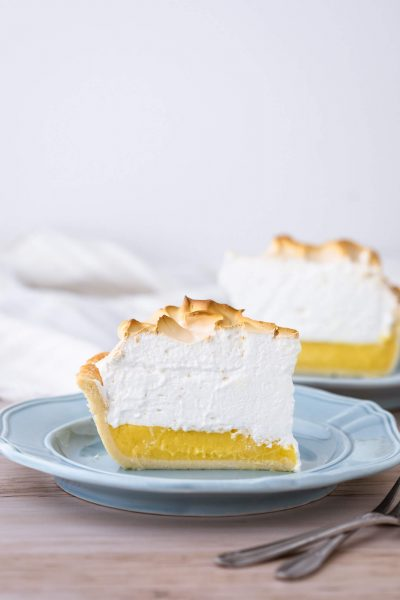 Slice of keto lemon meringue pie