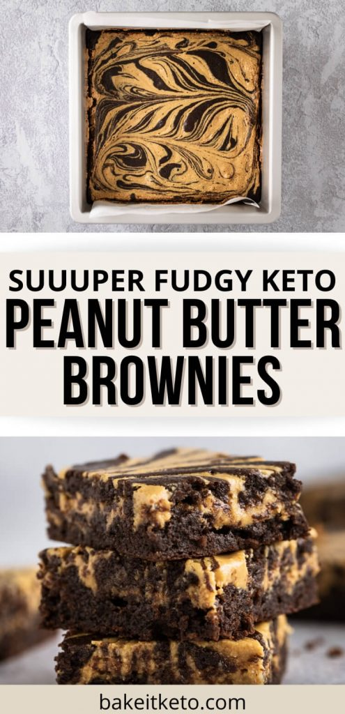 Keto peanut butter brownies pin image showing a stack of peanut butter brownies and a full pan of the keto brownies