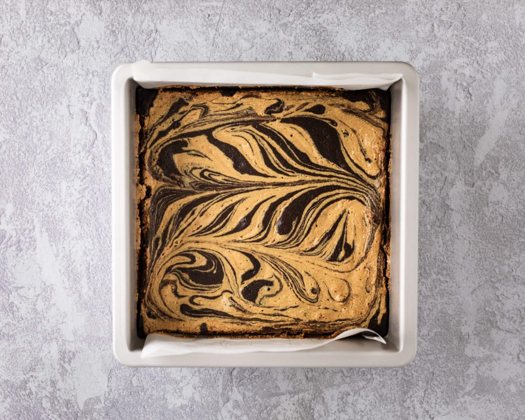 Full pan of low carb peanut butter brownies
