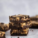 Stack of three sugar free peanut butter swirl brownies