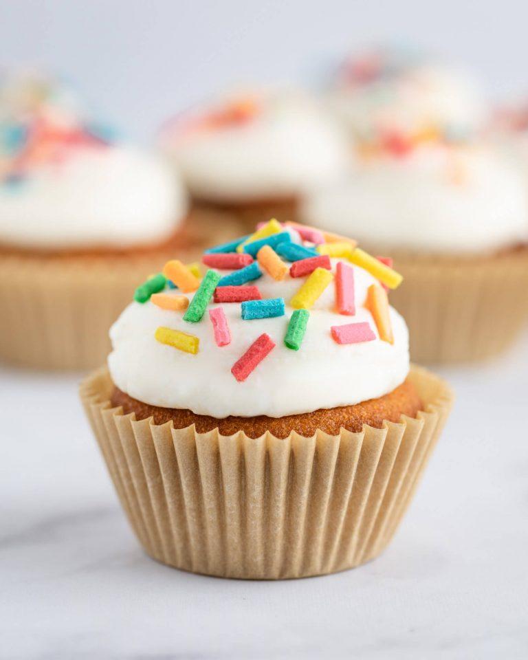 Vanilla Keto Cupcake with sugar free vanilla buttercream and homemade sugar free sprinkles