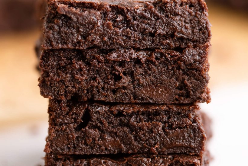 Stack of keto brownies with coconut flour